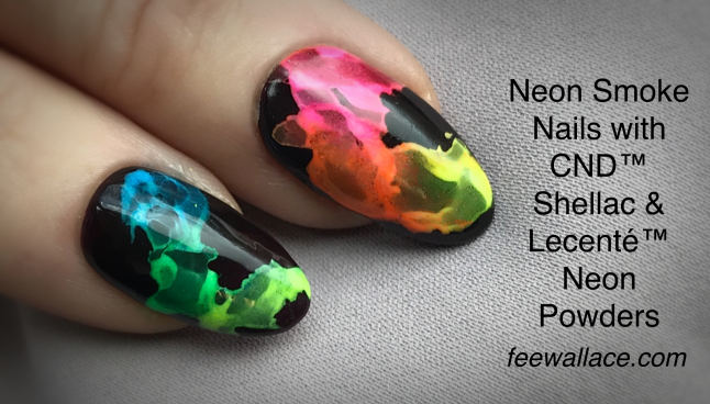 fee wallace blog banner smoke nails with cnd shellac and lecente neon effect poderes