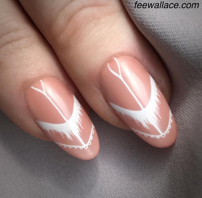 fee wallace stamping nail art nude shellac matte white nail design