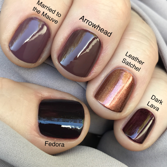 cnd shellac vinylux arrowhead nail color brown by fee wallace
