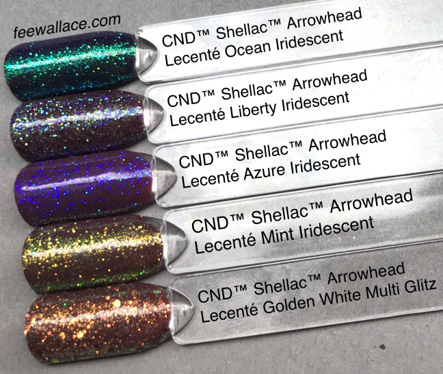 lecenté glitter over cnd shellac arrowhead from wild earth collection by fee wallace