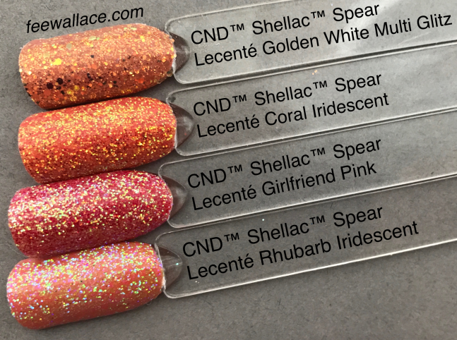 lecente glitters over CND Shellac Spear from wild earth collection by fee wallace