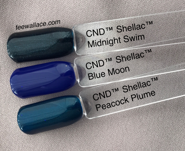 shellac blue moon from CND Wild Earth compared to other blue colors by fee wallace
