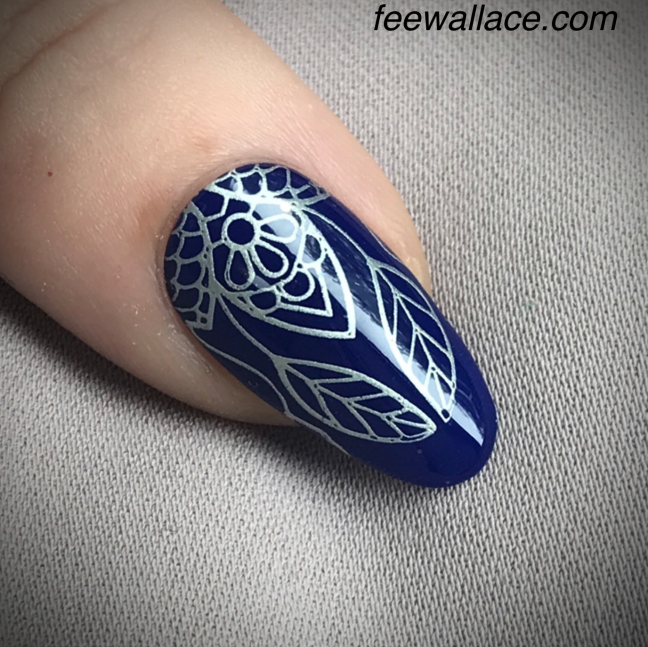 shellac CND Blue Moon stamping nail art by fee wallace