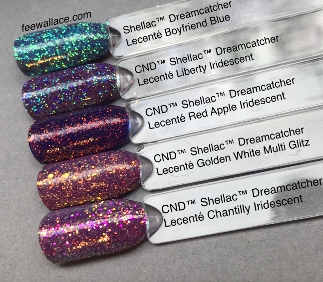 shellac dreamcatcher color with lecente glitter by fee wallace