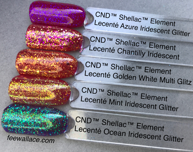 cnd shellac color element with lecente glitter by fee wallace