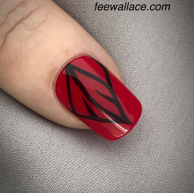 Shellac CND Element color with stamping nail art black and red nails by Fee Wallace