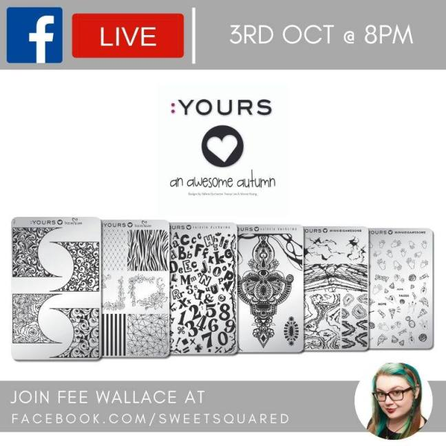fee wallace facebook live :YOURS awesome autumn stamping plates blog