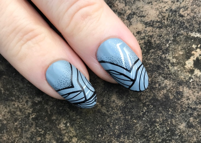 nail art by fee wallace with CND shellac mystic slate and YOURS loves Fee stamping plate