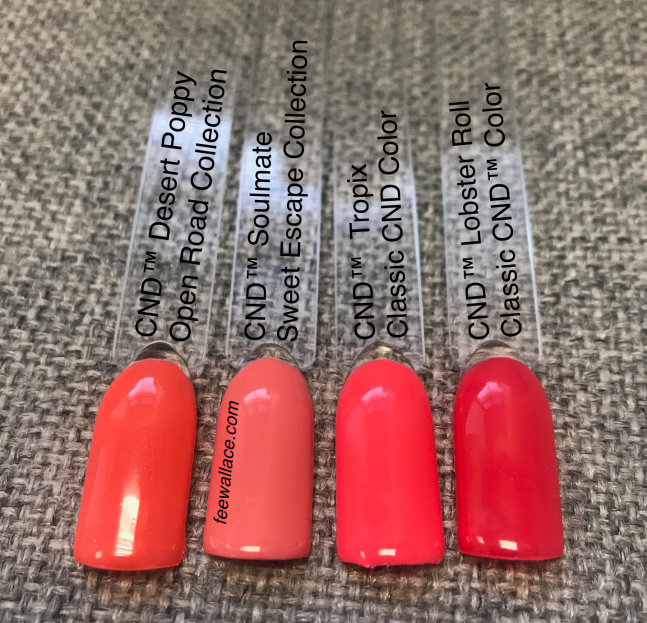 swatch comparisons cnd shellac soulmate with tropix, lobster roll and desert poppy by fee wallace