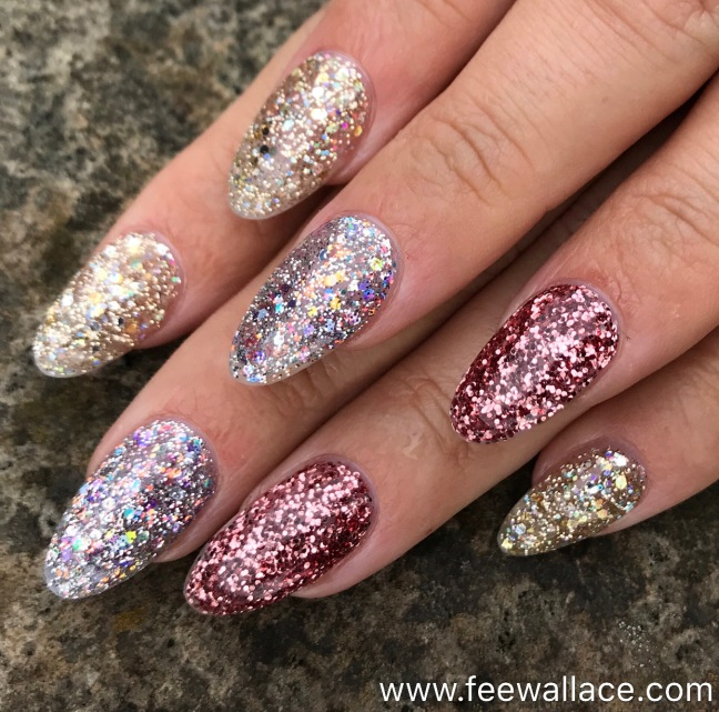 Light Elegance Glitter Gel nail enhancements by Fee Wallace