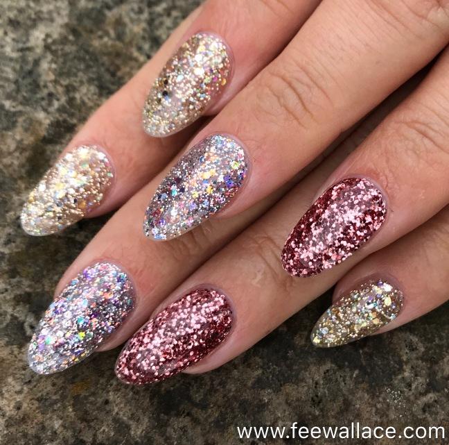 Light Elegance Glitter Gel nail enhancements by Fee Wallace