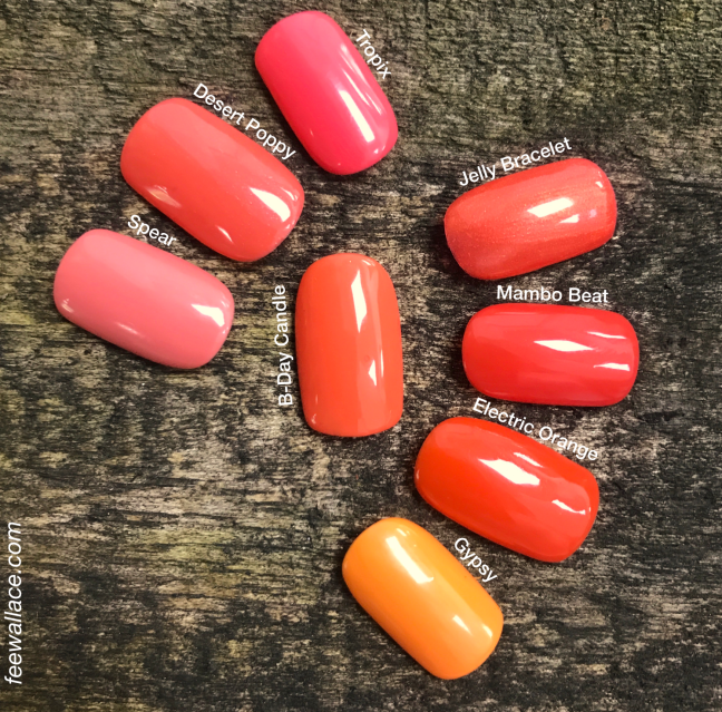 shellac b-day candle swatch comparison by fee wallace