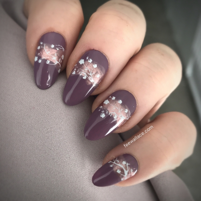 light elegance now and zen buttercream with stamping nail art by fee wallace shibui