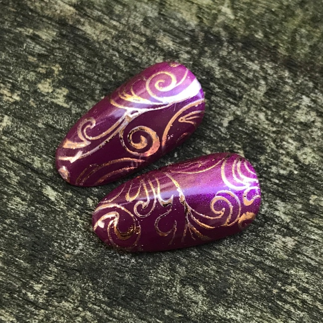 secret diary shellac nail art by fee wallace with stamping and lecente foil