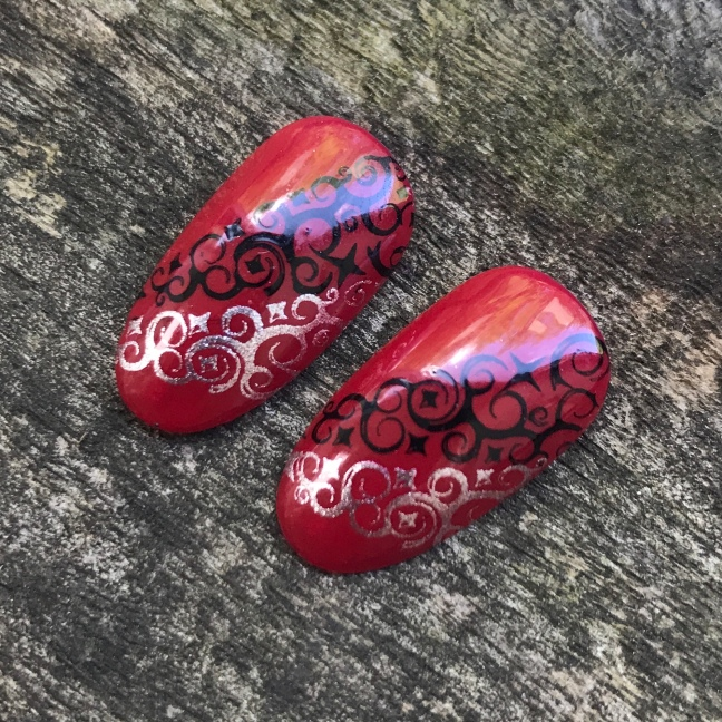 shellac first love with stamping nail art