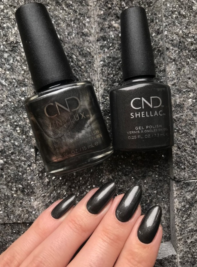 vinylux cnd powerful hematite by chloe on fee wallace blog