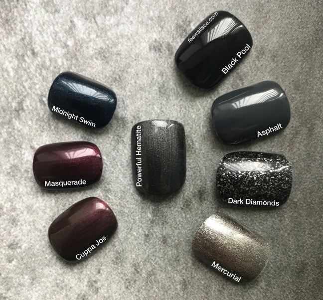powerful hematite shellac swatch comparison by fee wallace