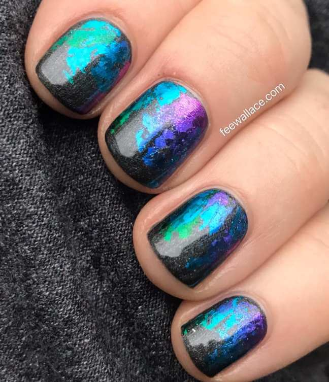 short nails shellac manicure with lecente rainbow shimmer foil by fee wallace