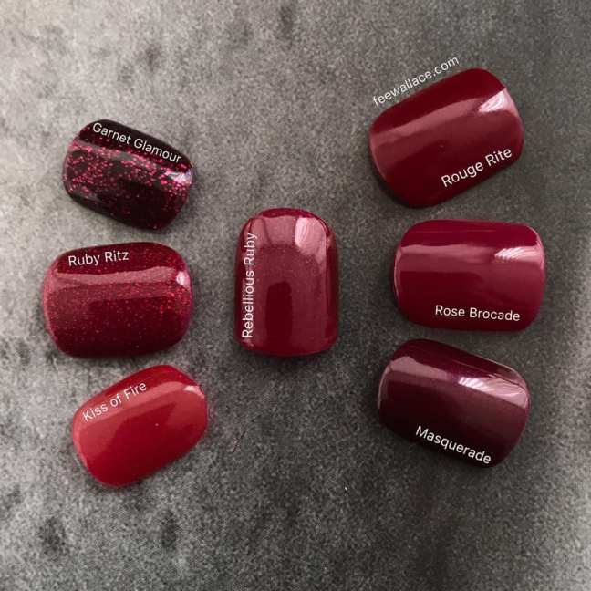 shellac rebellious ruby swatch comparison by fee wallace