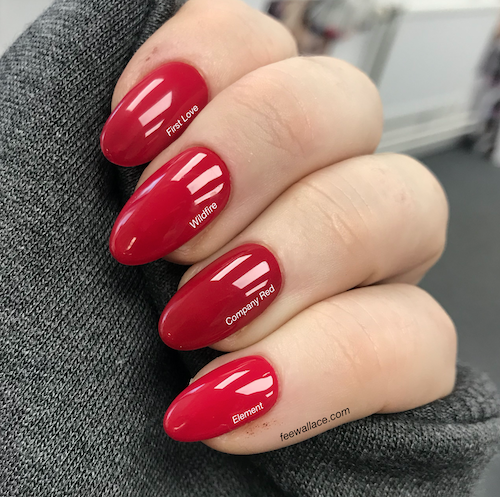 Shellac company red cnd swatch comparison by fee wallace