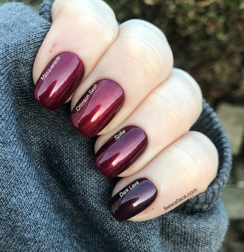 shellac spike cnd nail color swatch comparison by fee wallace