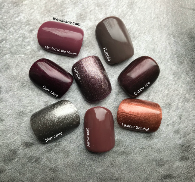 shellac grace metalic brown nail color swatch comparison to other colours by fee wallace